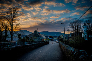image of dog on Sneem bridge at sunset by Penny Fox